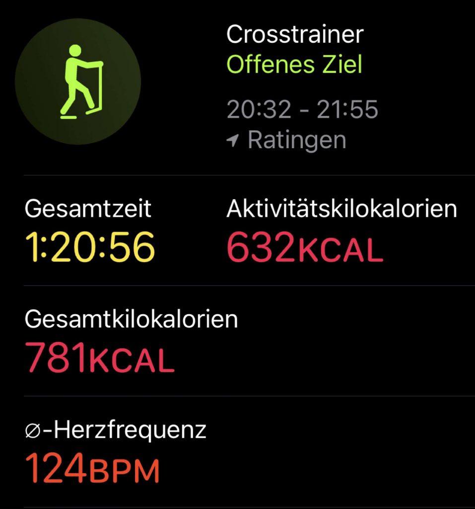 Die Fitness-App zeigt nach dem Sport nur die erfassten Daten, eine Analyse erfolgt nicht.