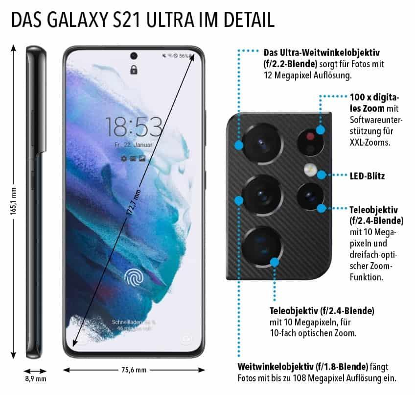 Detailansicht Samsung Galaxy S21