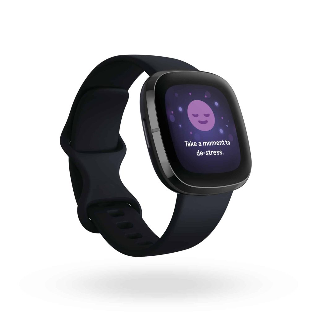 Product render of Fitbit Sense, 3QTR view, in Carbon and Graphite.