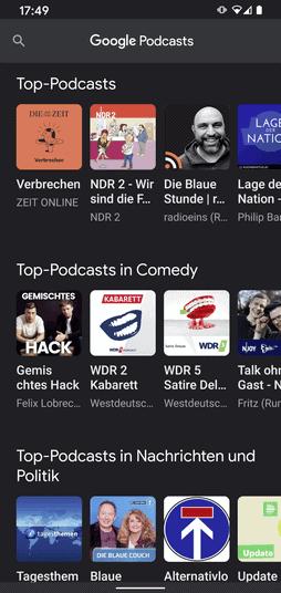 Google Podcast Übersicht
