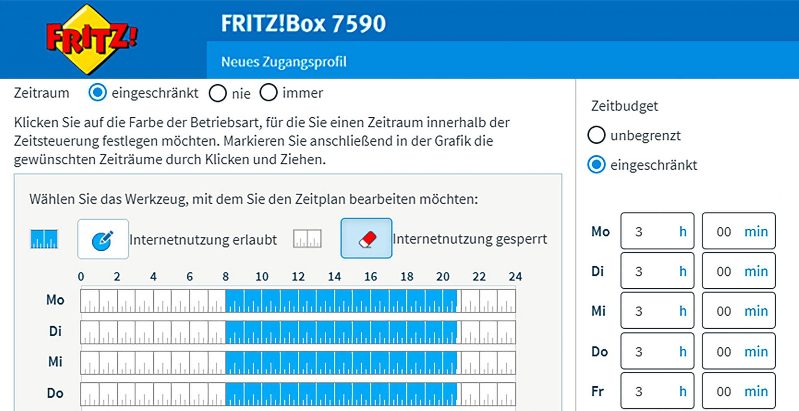 WLAN-Router Fritzbox mit Kindersicherung