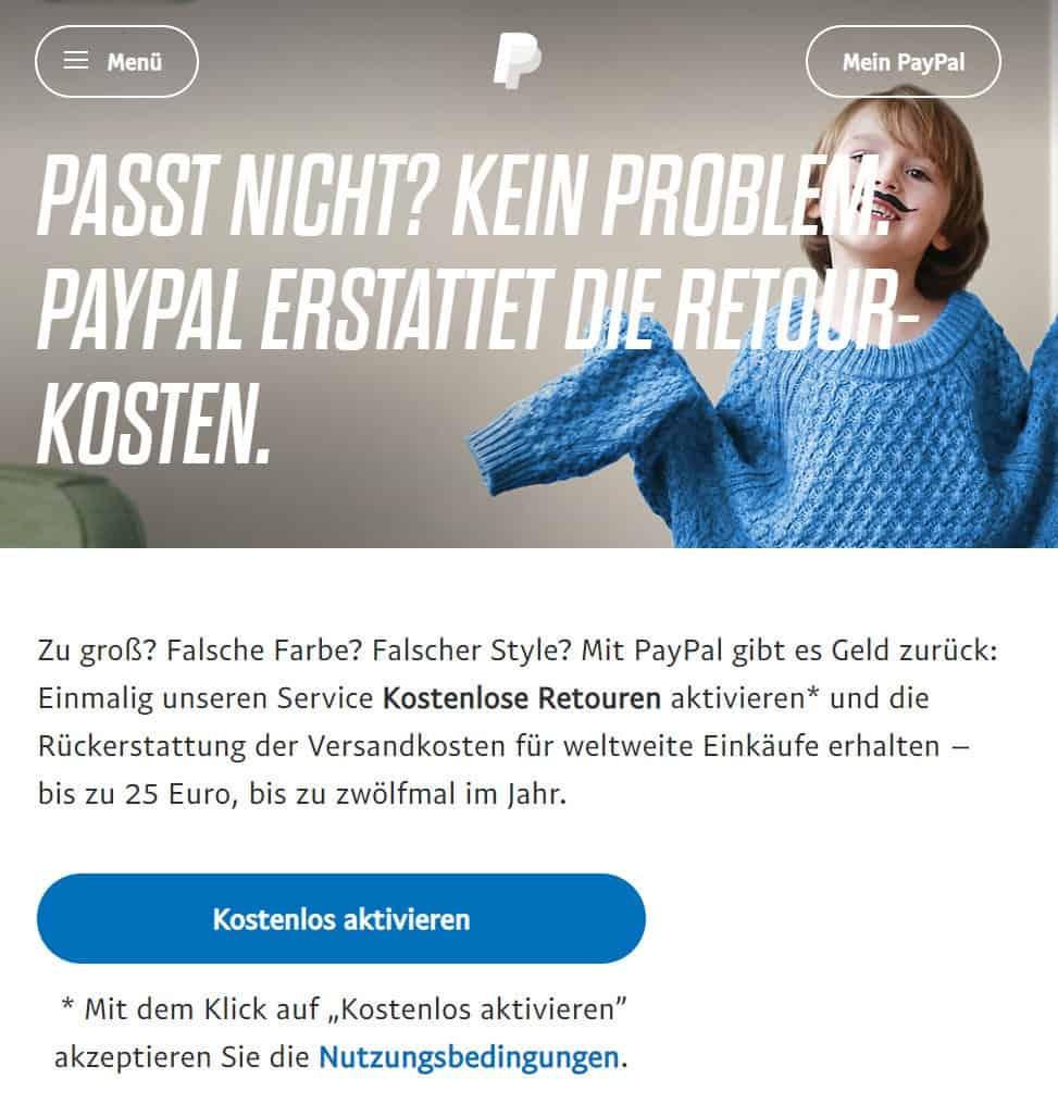 PayPal Retouren Funktion