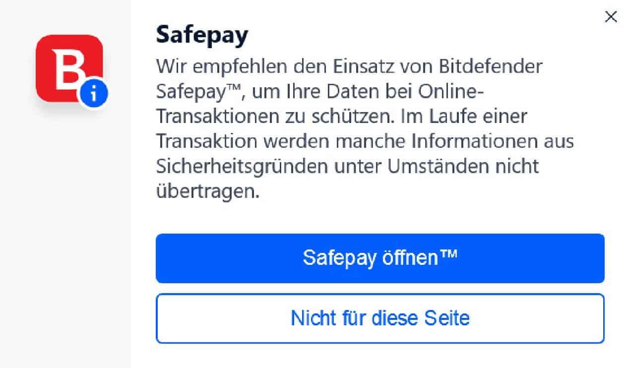 Safepay bei Bitdefender öffnen
