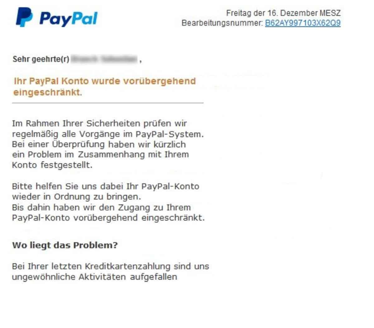 Phishing Mails von PayPal Mails unterscheiden
