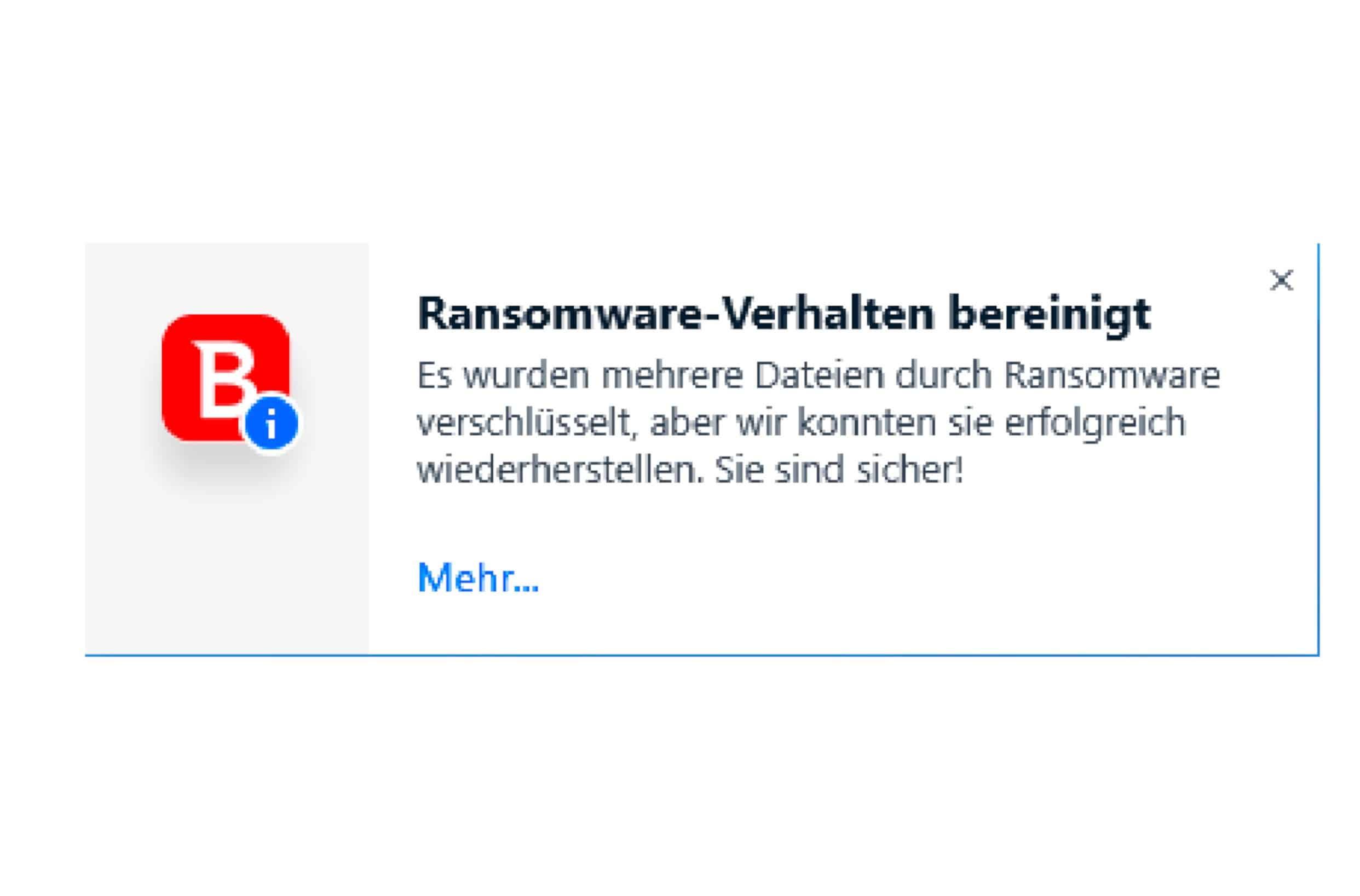 Bitdefender_Meldung Ransome