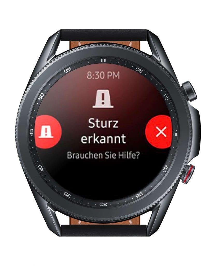 Für den Notfall: Auch die Galaxy Watch3 hat eine Sturzerkennung eingebaut.
