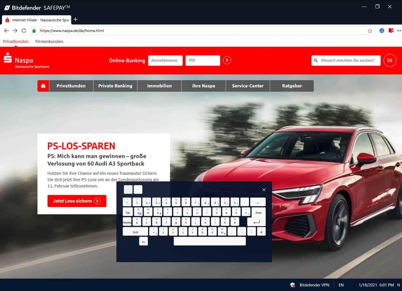 Online-Banking über Safepay anmelden
