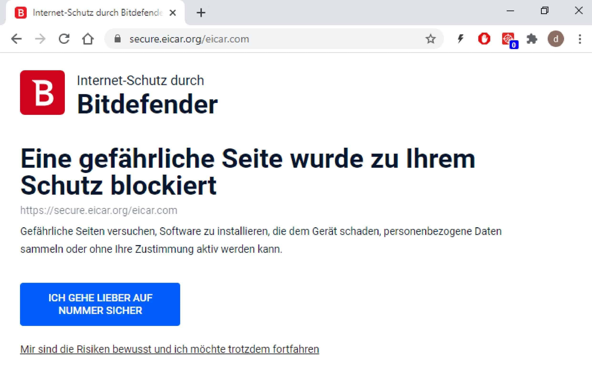 Bitdefender_Meldung Seite