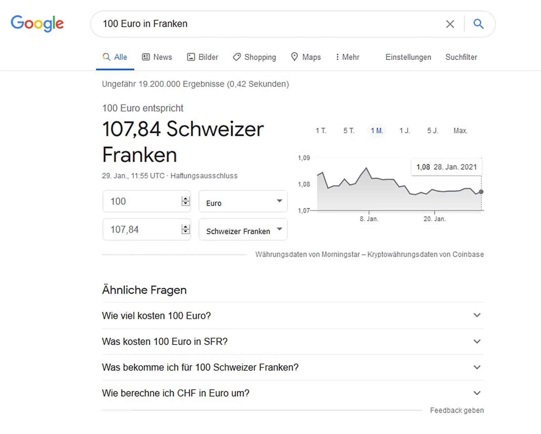 Google Suche Umrechnung