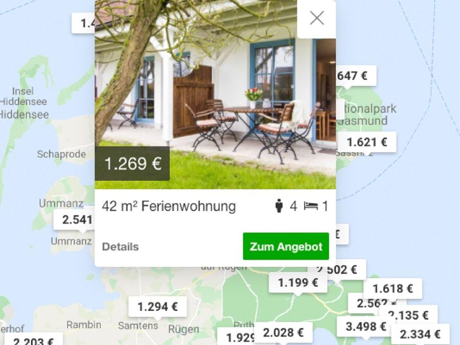 Kartenansicht von Hometogo um Ferienhaus zu finden