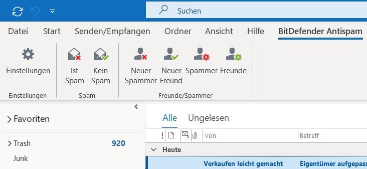 Spam Mails markieren