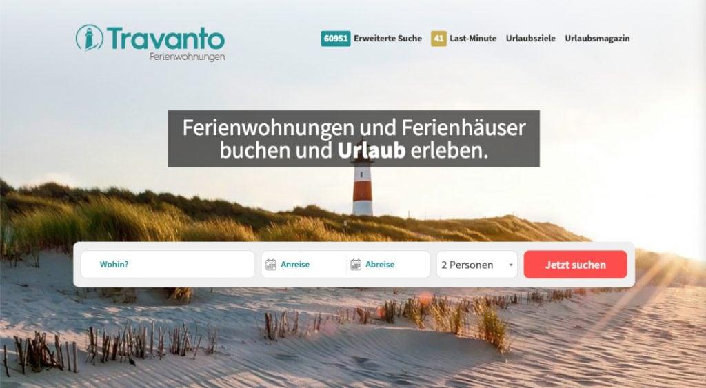 Viele Portale für Ferienhäuser sehen aus wie Google (hier Travanto)