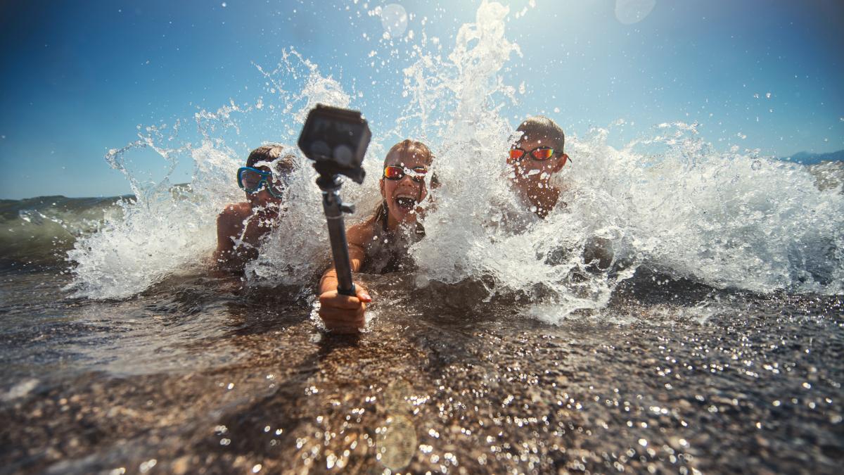 Action Cam am Strand im Einsatz