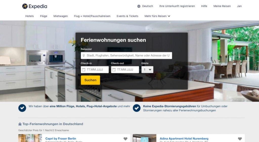 Auch bei Expedia lassen sich Ferienhäuser finden