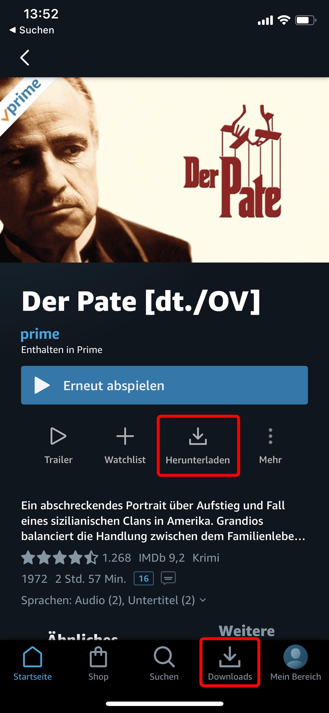 Amazon Prime: Wählen Sie eine Folge oder einen Film laden das Video herunter über
