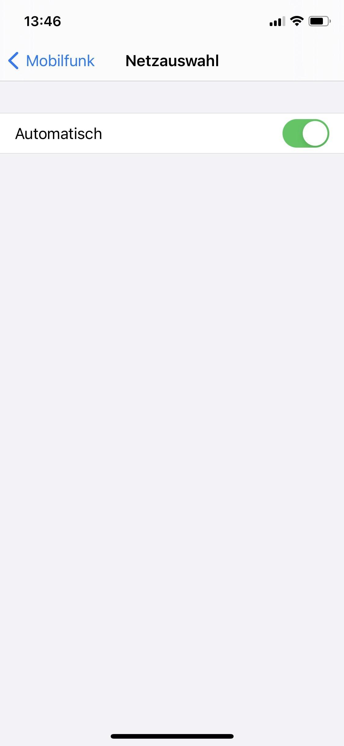 Schritt 5: Nun können Sie die automatische Netzwahl deaktivieren.