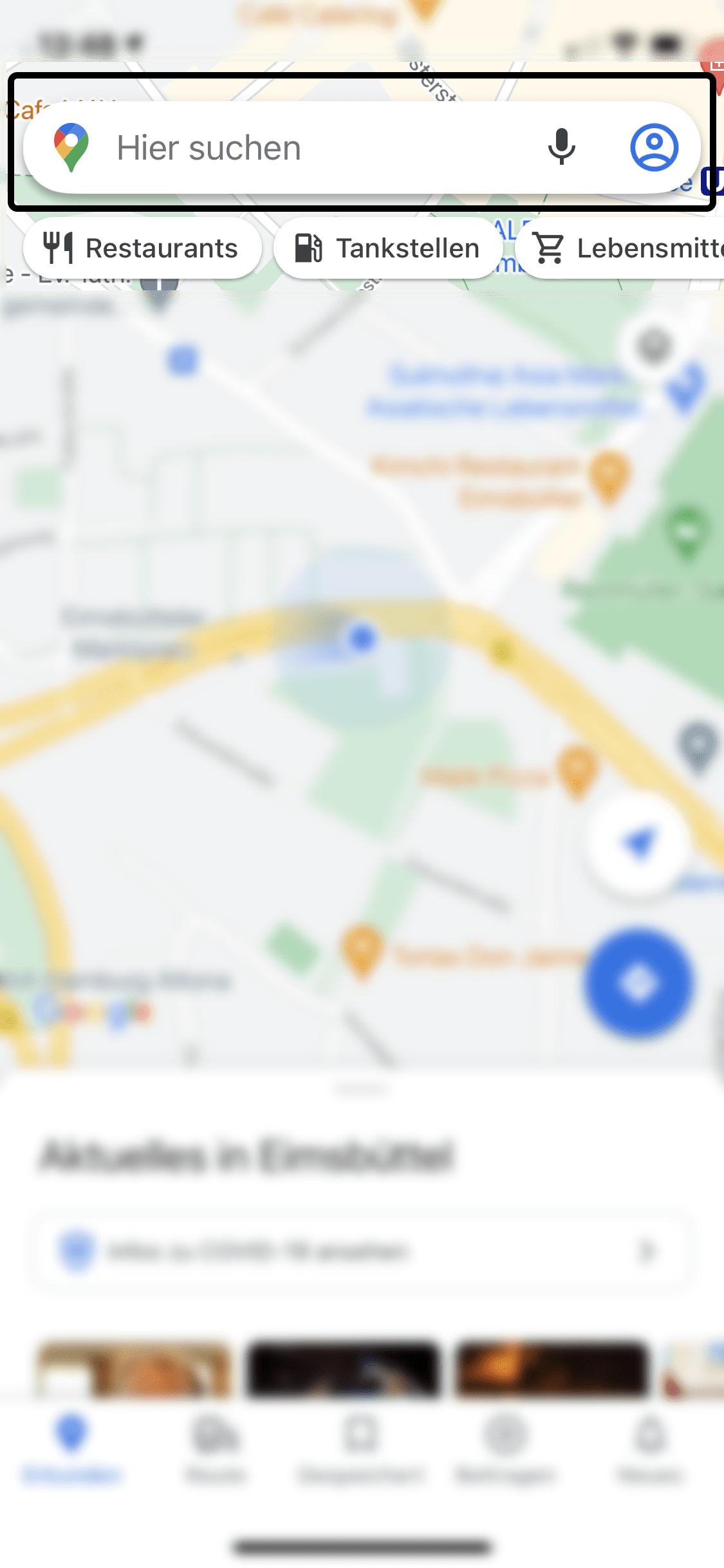 Google Maps Schritt 1: Nutzen Sie die Suchfunktion und geben Ihr Reiseziel ein.
