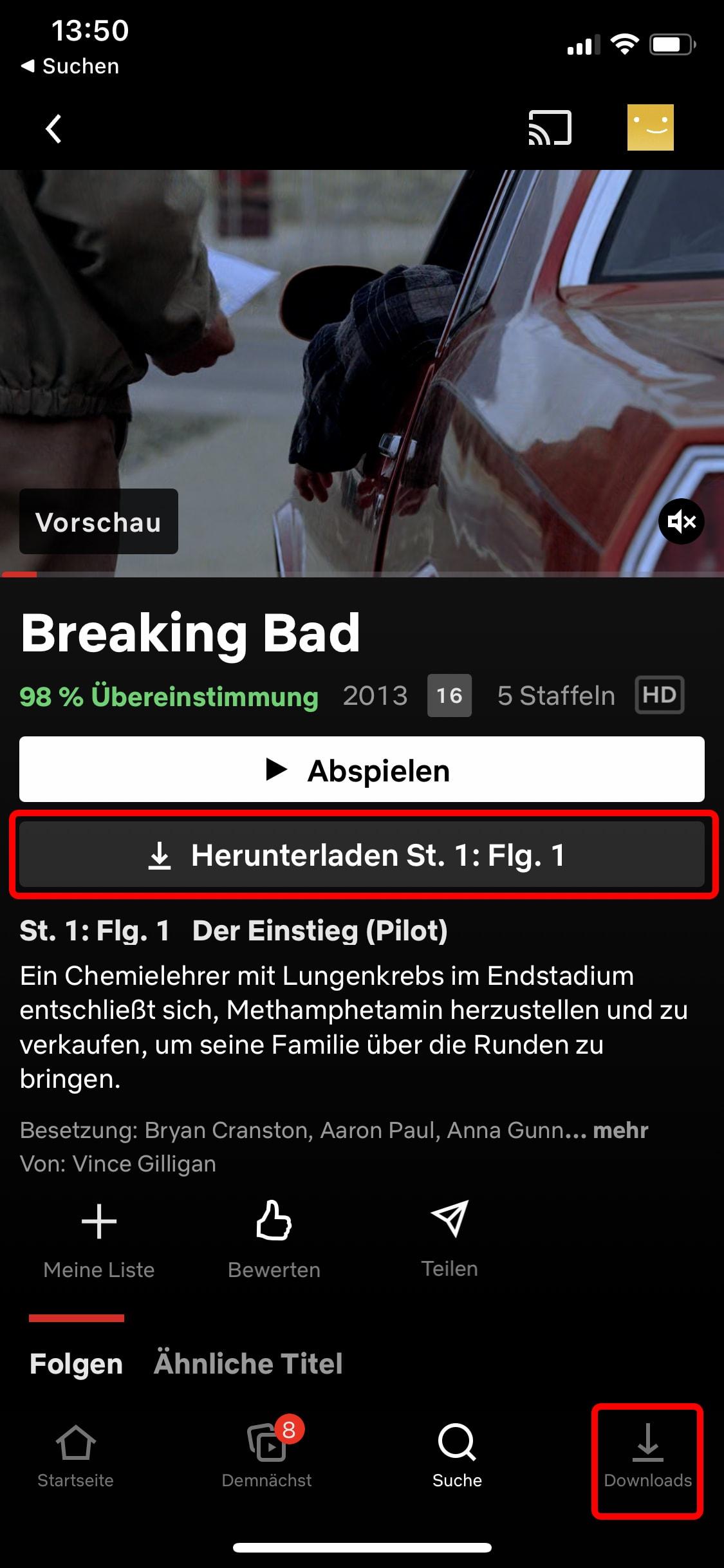 Netflix: Wählen Sie eine Folge oder einen Film aus und laden Sie das Video dann über