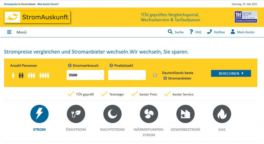 Homepage Stromauskunft
