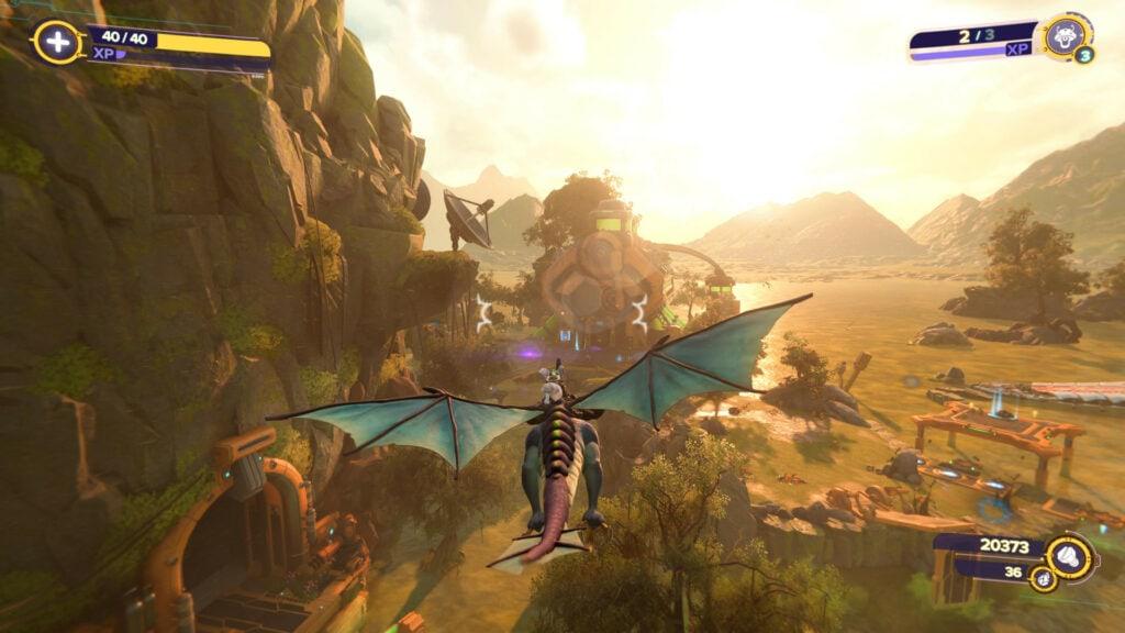 Rivet fliegt auf einem Drachen