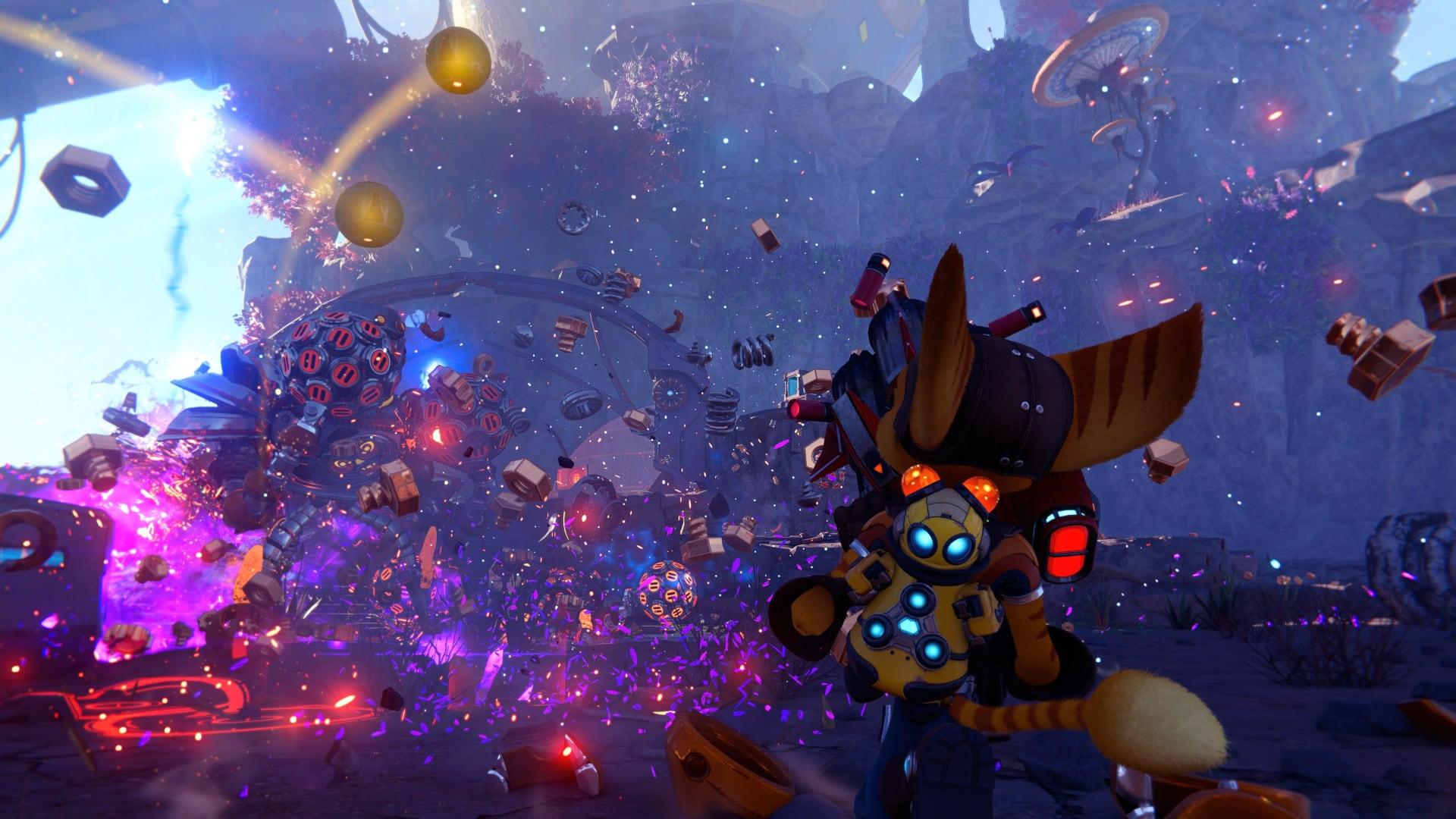Viele Details beim Kampf in Ratchet & Clank