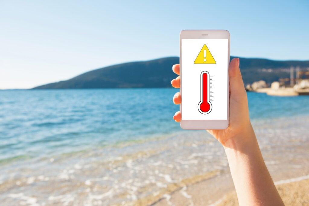 Smartphone bei hohen Temperaturen