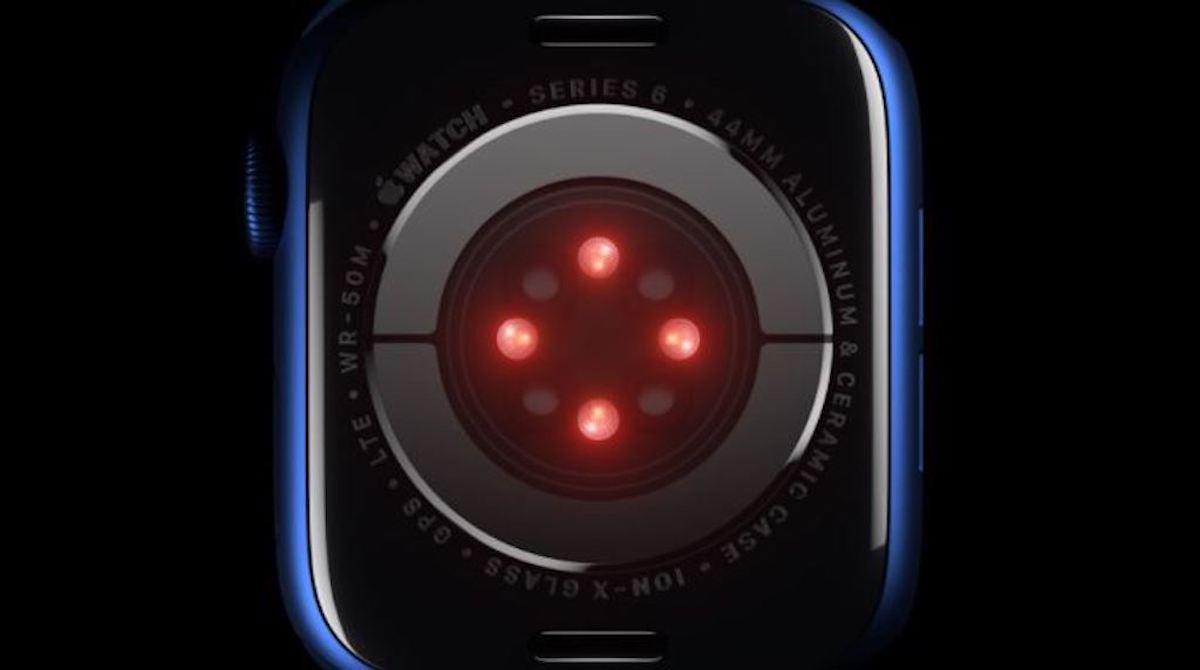 Eine Apple-Watch in der Draufsicht.