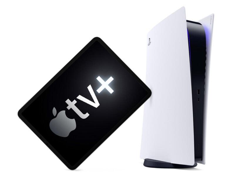 iPad mit Apple TV+ lehnt an einer Playstation 5