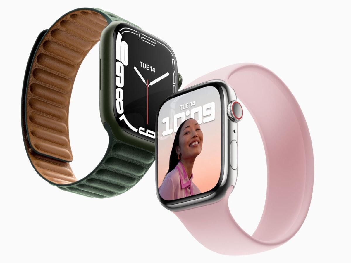 Apple Watch 7 in grün und rosa
