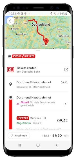Die App von Google Maps auf einem Smartphone