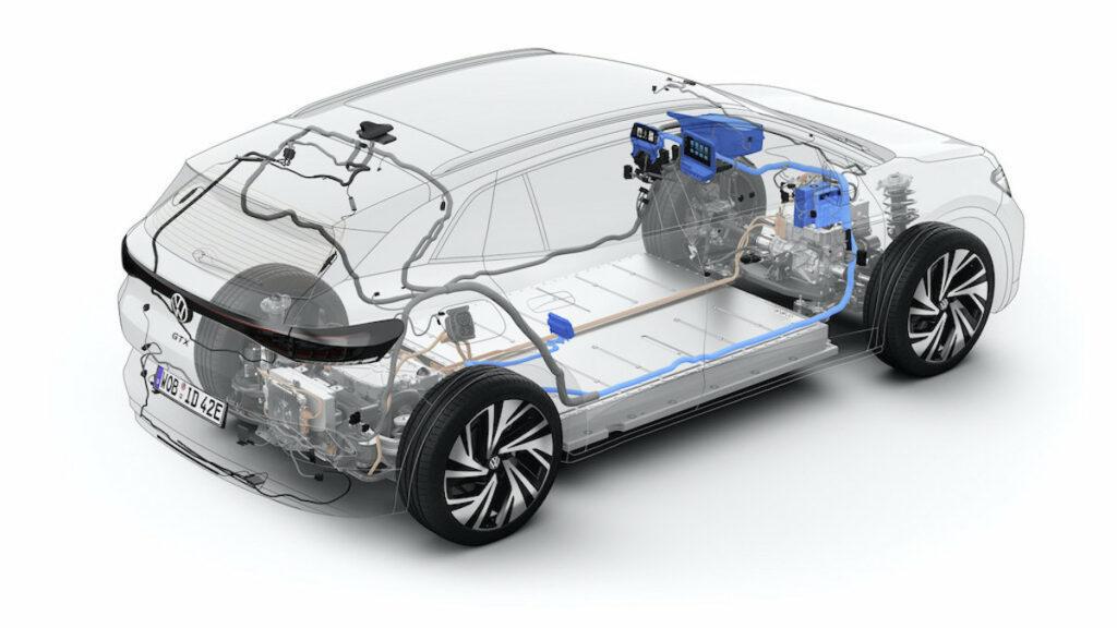 Die Glas-Ansicht eines Volkswagen Elektrofahrzeugs