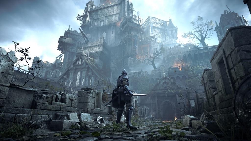 Ein Ritter steht vor einem düsteren Schloss