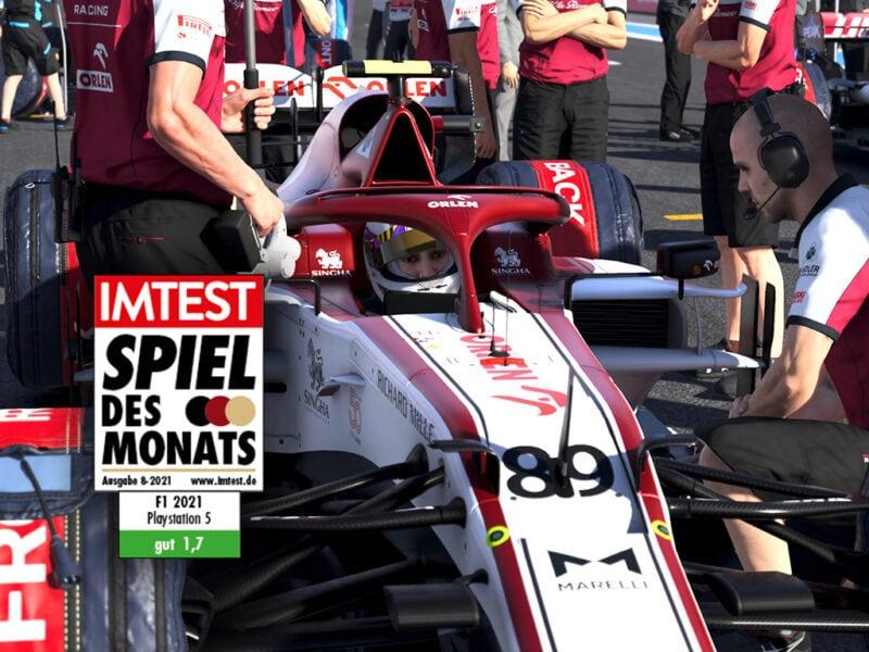 F1 2021 Boxen-Stop mit Test Siegel