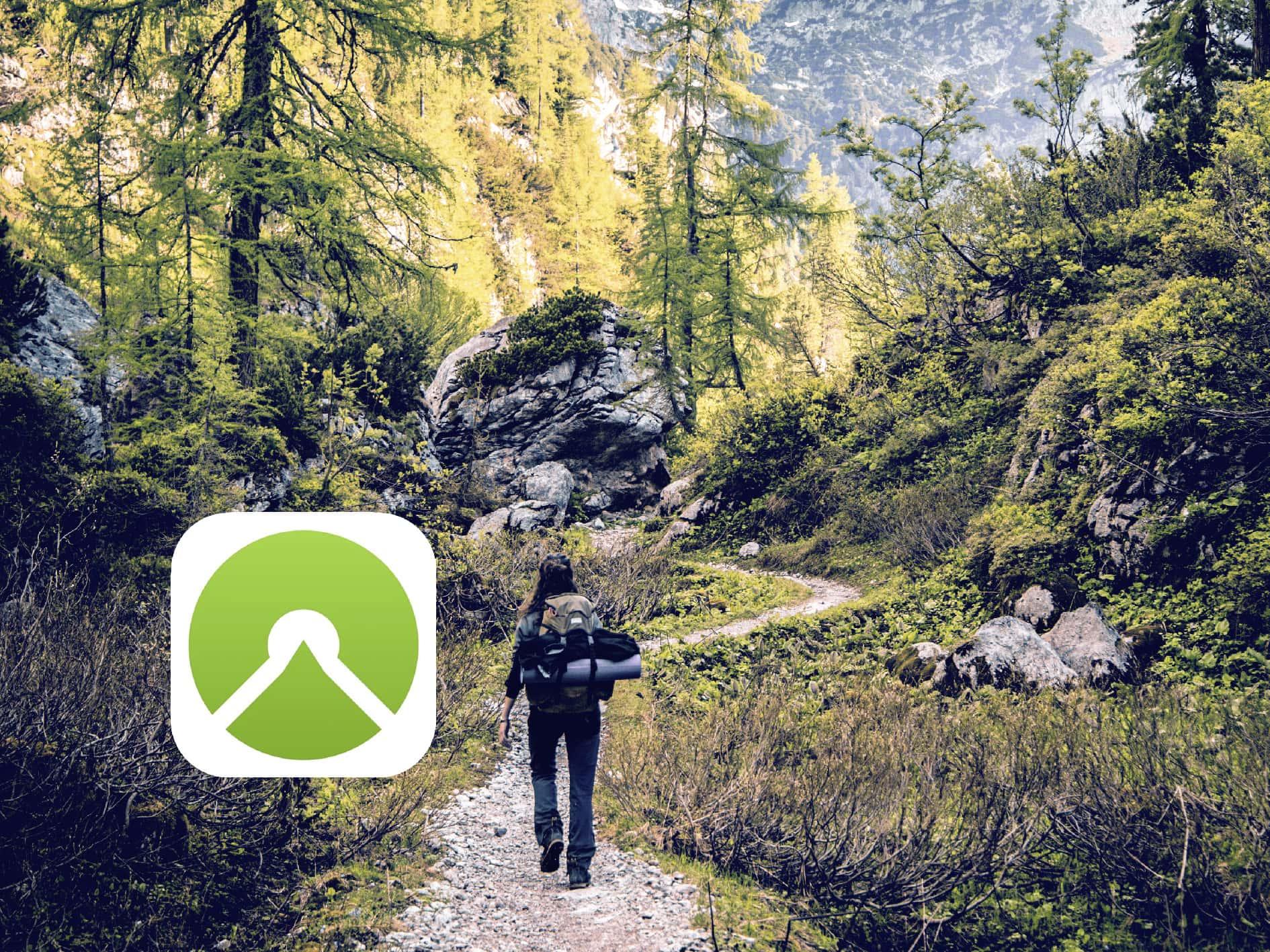 Eine Spaziergängerin in Wald