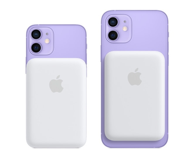 Die neue MagSafe-Batterie an der Rückseite eines iPhone 12.