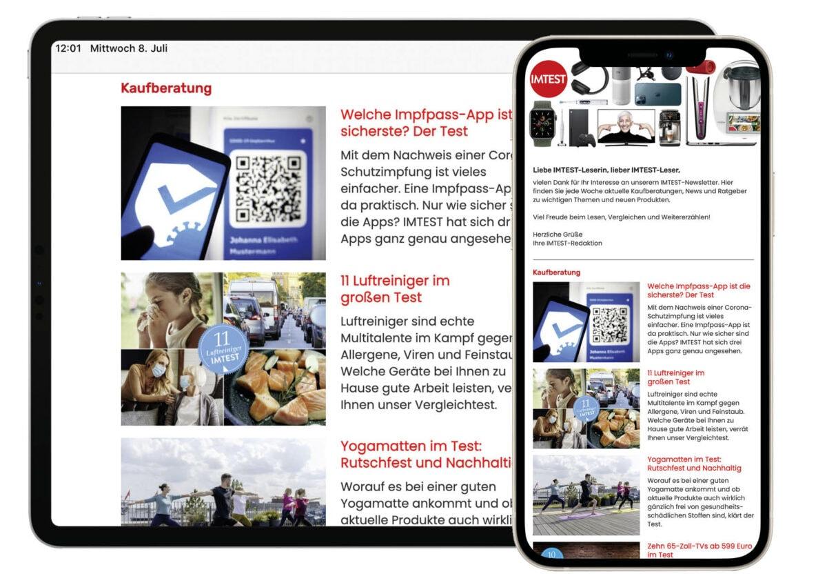 Tablet und Smartphone zeigen einen geöffneten IMTEST-Newsletter.