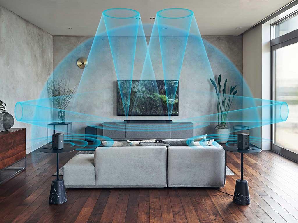 Eine Grafik zeigt, wie sich Surround Sound im Raum ausbreitet.