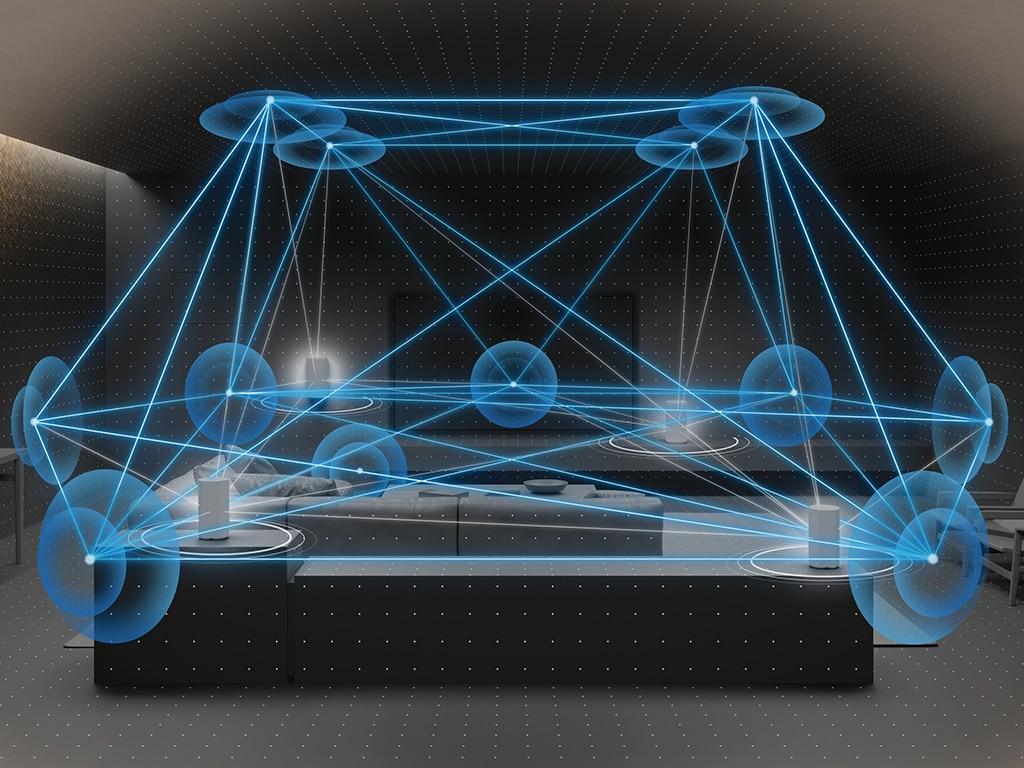 Eine Grafik zeigt die Verteilung von Schallwellen in einem Raum.