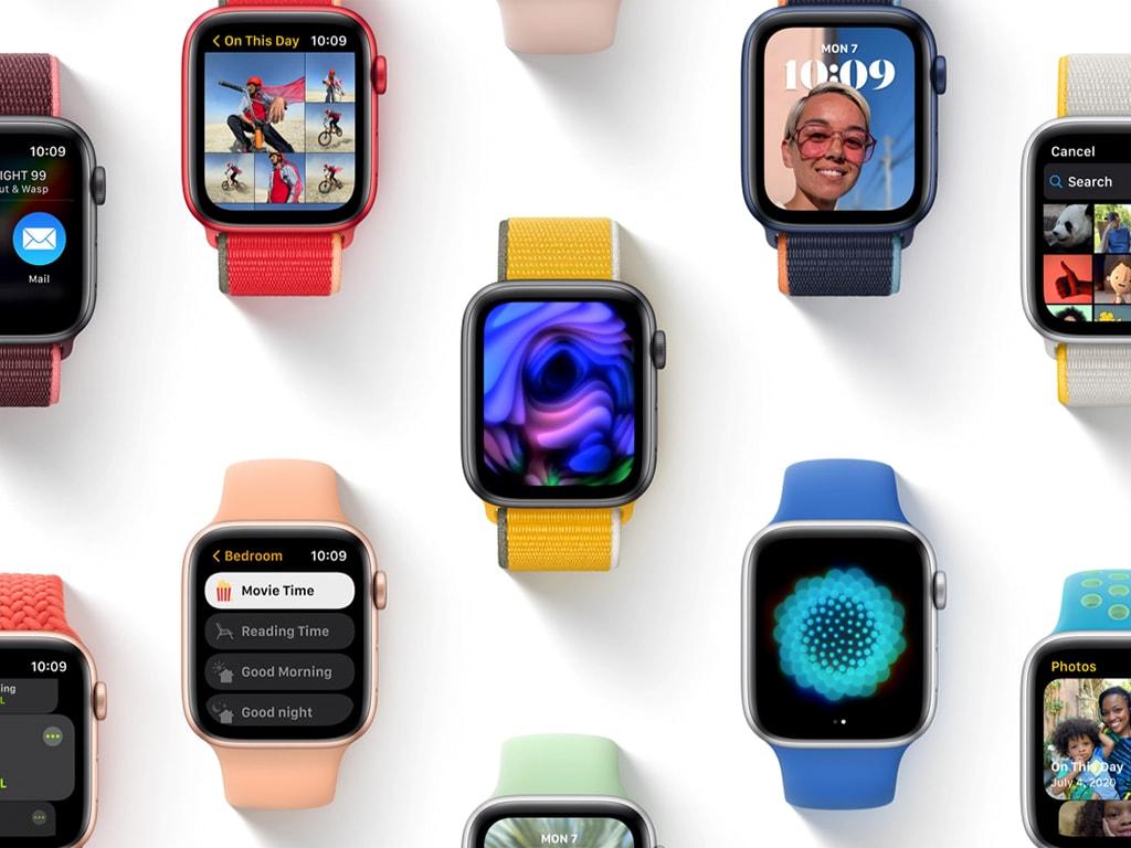 Viele Apple Watches mit watchOS8 auf einem Bild.