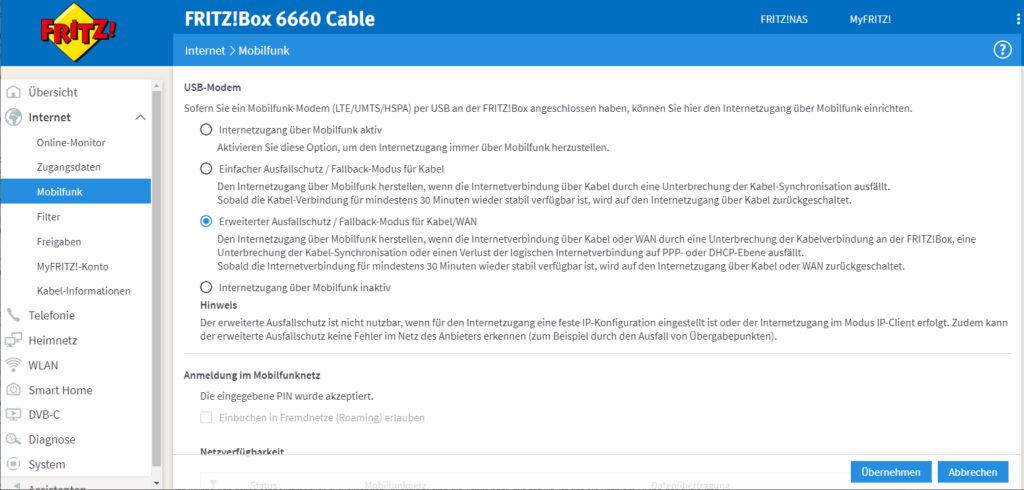 Fritzbox-Einstellungen für LTE