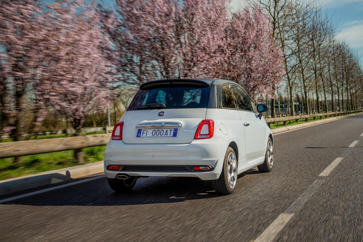 Fiat Sondermodell von hinten während der Fährt