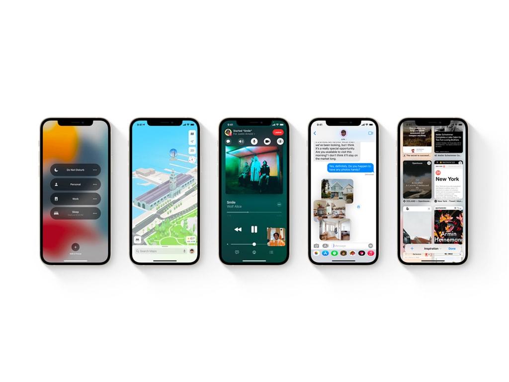 iOS 15 auf Smartphones.