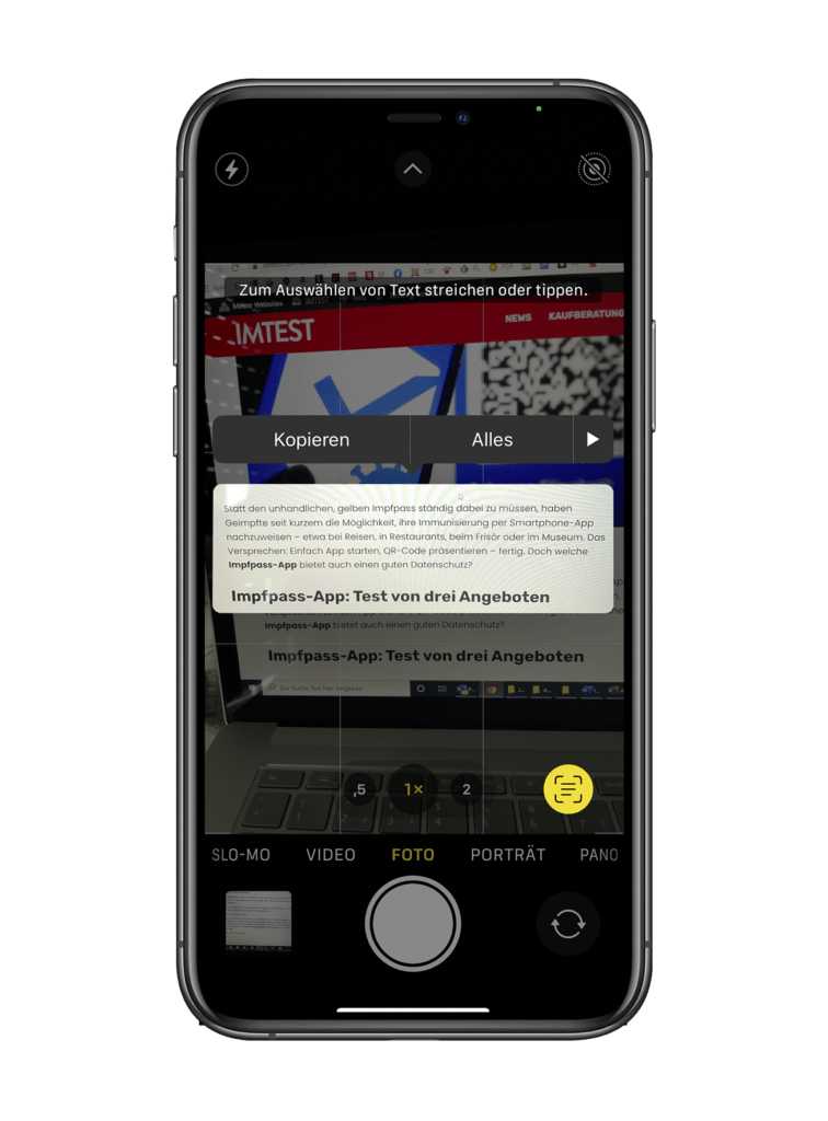 iOS 15 Text lesen