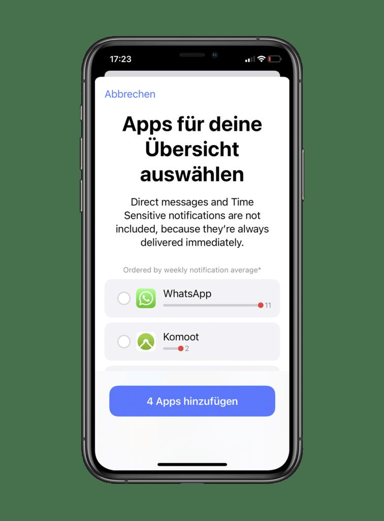 iOS 15 Mitteilungen einstellen