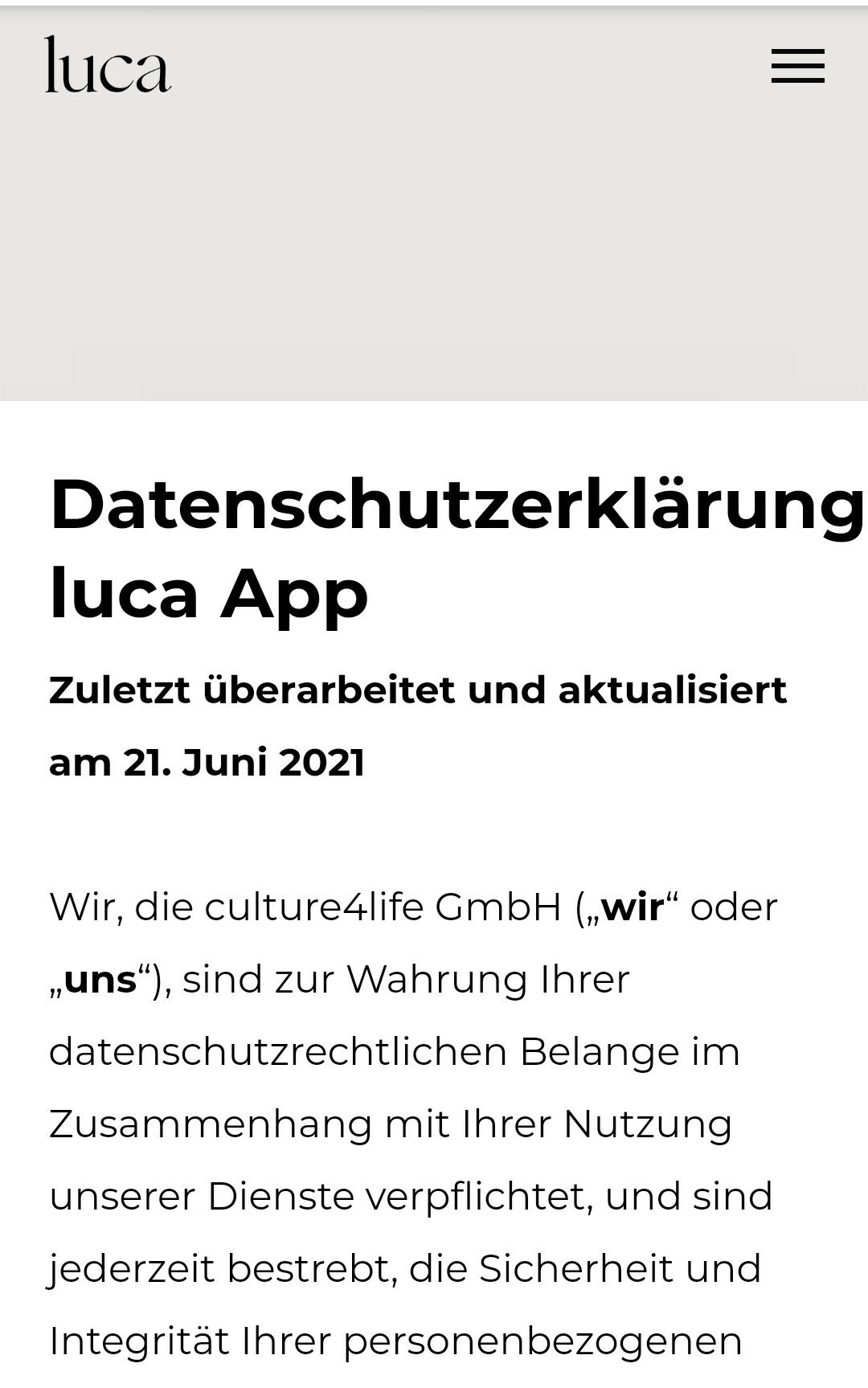 luca App Datenschutzerklärung