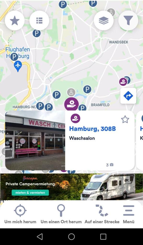 Park4Night Karte mit Waschsalon