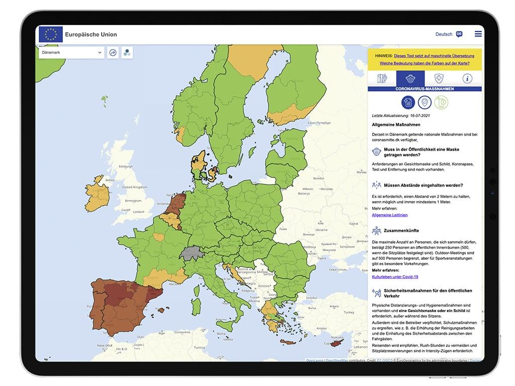 Eine Kartenansicht von Europa.