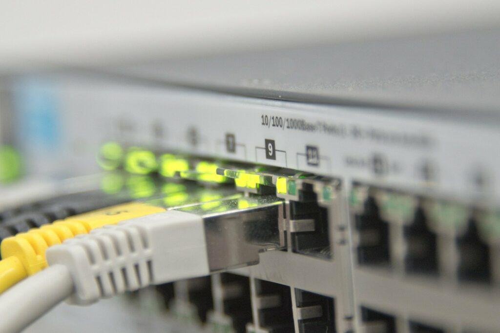 Netzwerkkabel am Switch