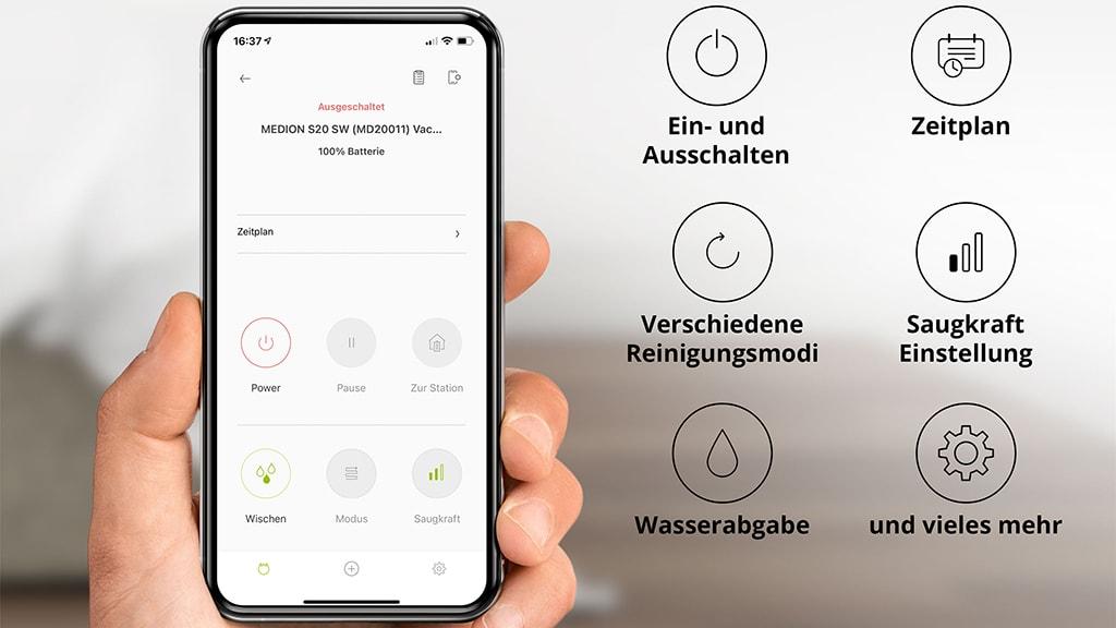 App-Menü für Staubsauger-Roboter