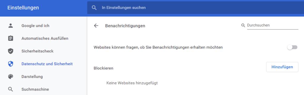 Push-Nachrichten blocken